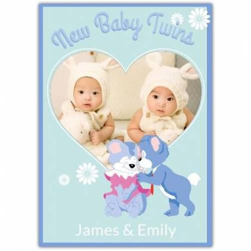 New Baby Twins Heart Photo Puppies  Card