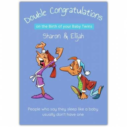 Double Congratulations On Baby Twins Sleep Like A Baby Card