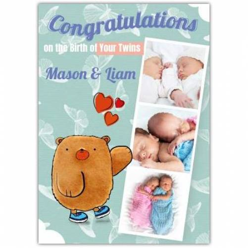 Congraulations On Twins Three Photos Bear Hearts Card