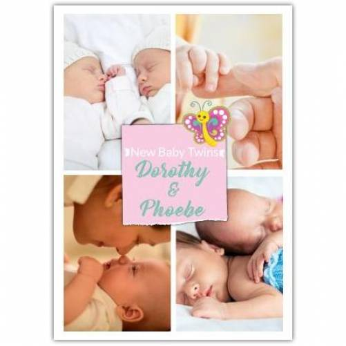 Four Photos Butterfly New Baby Twins Card