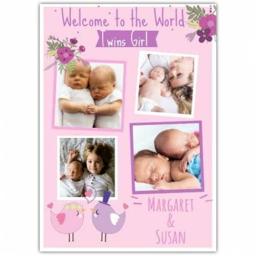 Welcome Twin Girls Four Photo Card