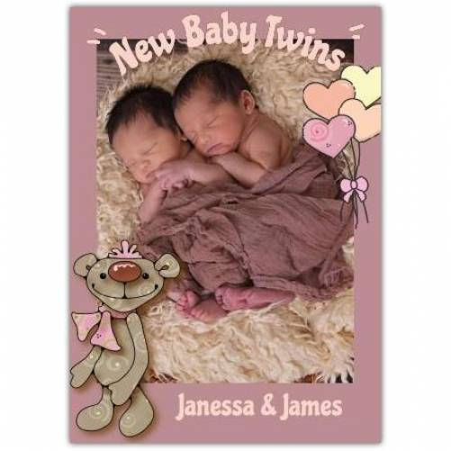 New Baby Twins One Photo Greeting Card