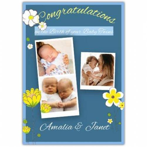 Three-photo Congratulations Floral Twins Card