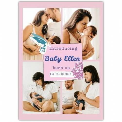 Introducing New Baby Girl Date Born  Card