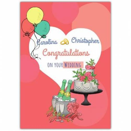 Congratulations On Your Wedding Balloons And Cake  Card