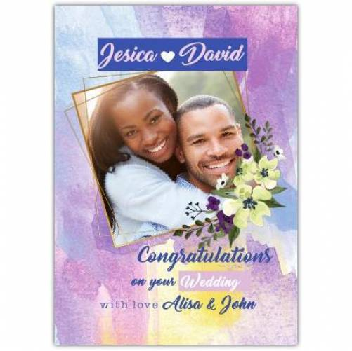 Congratulations Flower Frame Watercolours  Card