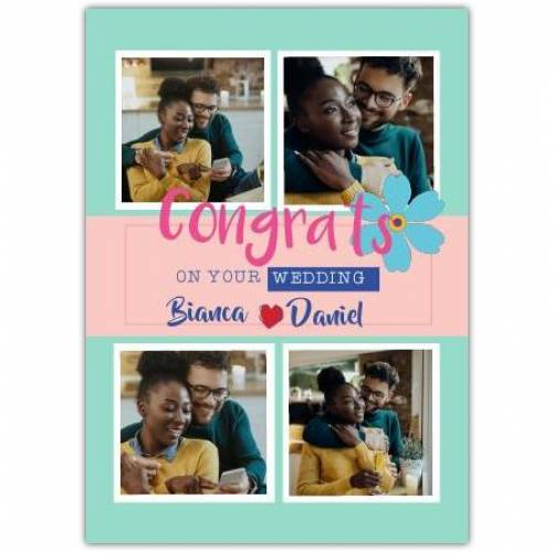 Congratulations Wedding Day 4 Photos Blue Flower Card