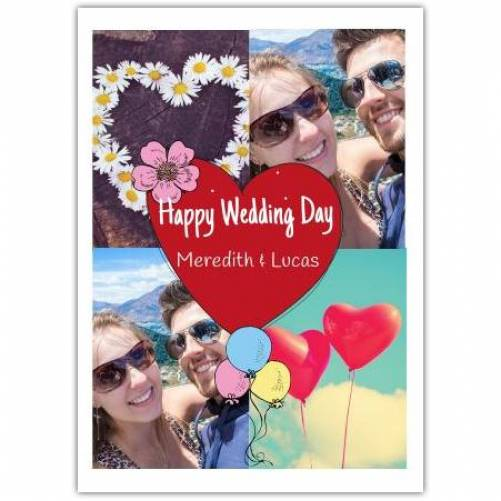 Happy Wedding Day Heart Balloons And Flowers  Card