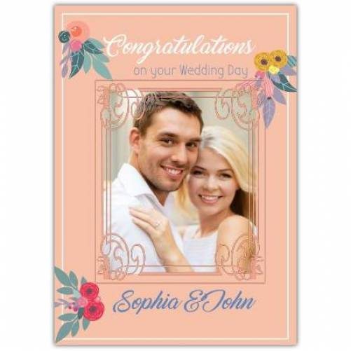 Congratulations Wedding Day With Flowers  Card