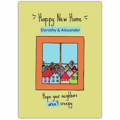 Happy New Home Window View Of Houses  Card