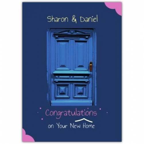 Congratulations New Home Blue Wooden Door  Card