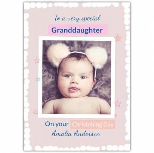 Granddaughter Christening Day White Frame Stars  Card