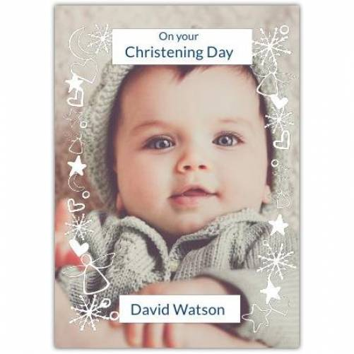 Cjristening Day White Ornaments Big Photo Card