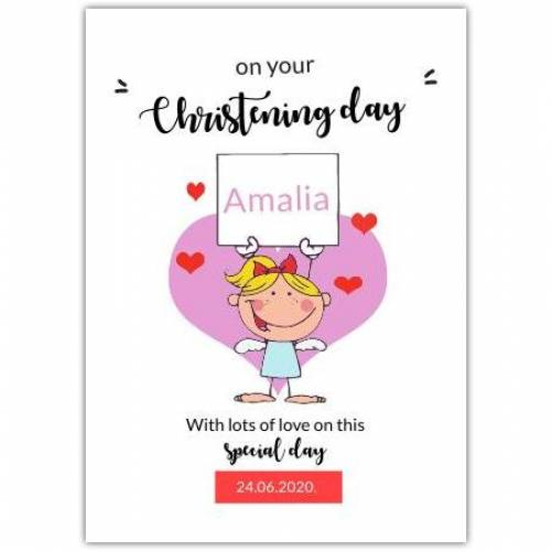 Christening Day Angel With Hearts  Card