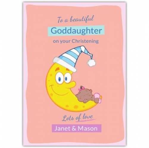 Goddaughter Christening Day Baby Sleeping On Moon  Card