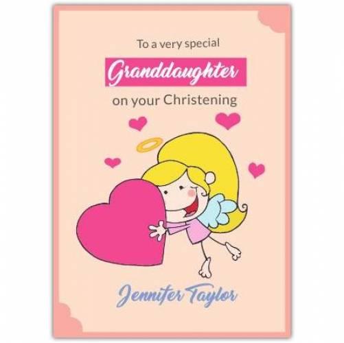 Granddaughter Angel Holding Big Heart  Card