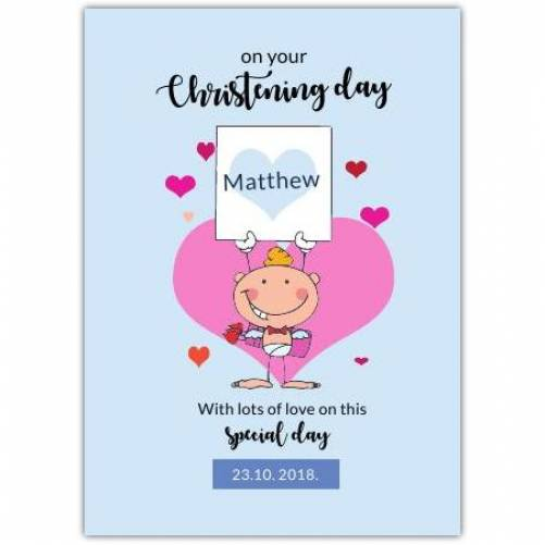Christening Day Angel Holding Note Big Heart Card
