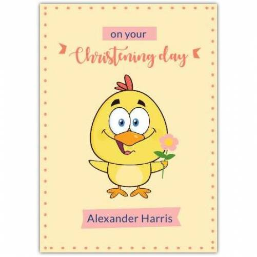 Christening Day Yellow Bird With Flower  Card