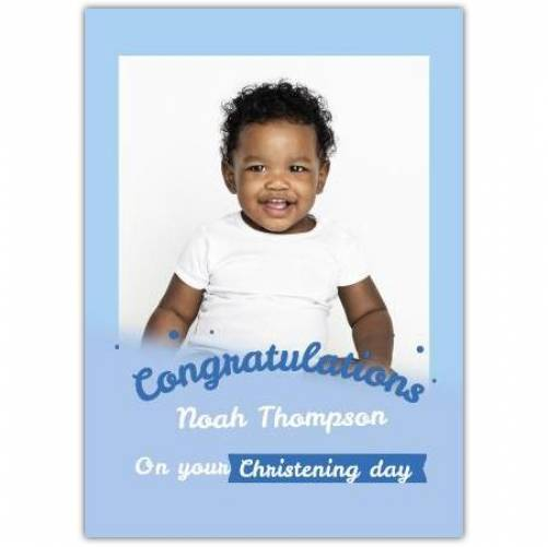 Congratulations Baby Boy Christening Day 1 Photo Card