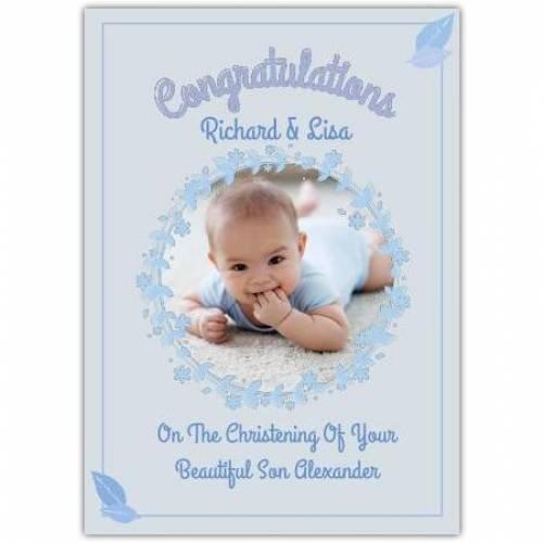 Congratulations Christening Baby Boy Blue Background  Card