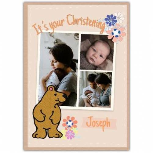 Christening Flowers And Bear  Card