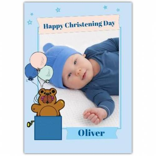 Happy Christening Day Baby Boy Teddy Bear With Balloons  Card