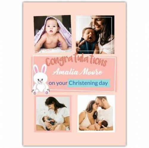 Congratulations Baby Girl 4 Photos White Bunny  Card