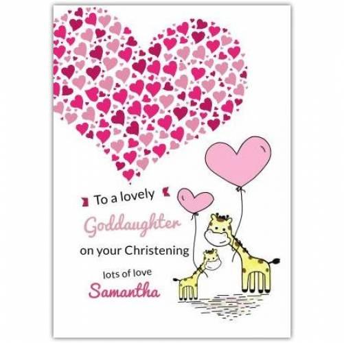 Goddaughter Giraffes With Heart Balloons  Card