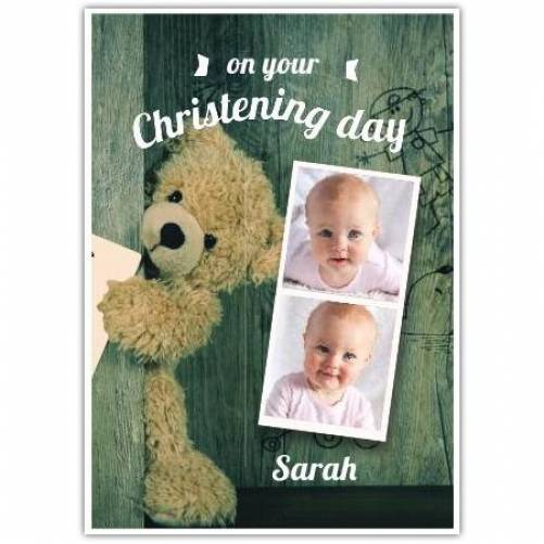 Christening Day New Baby 2 Photos  Card