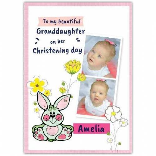 Granddaughter Christening Day Flowers And Bunny Card