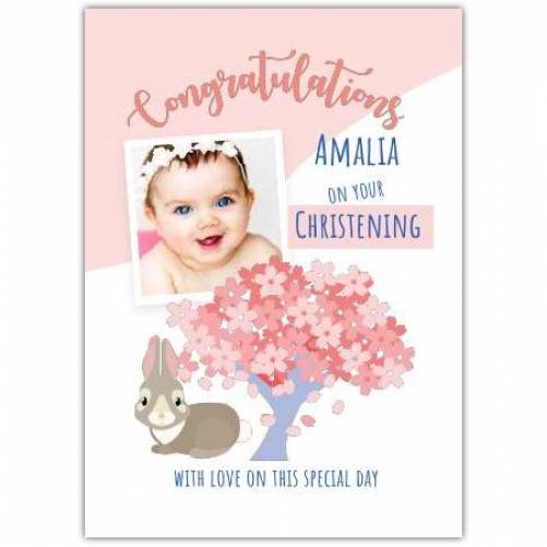 Congratulations Baby Girl Christening Day With Bunny  Card