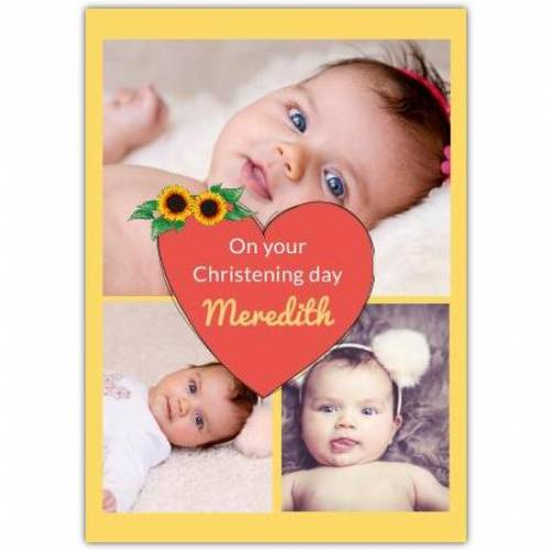 Christening Day Heart With Sunflowers  Card