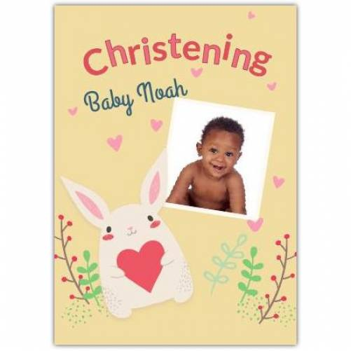 Christening Bunny With Heart  Card