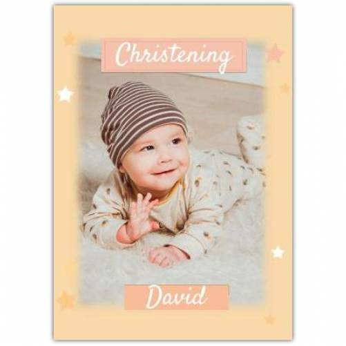Christening Orange Stars And Background  Card