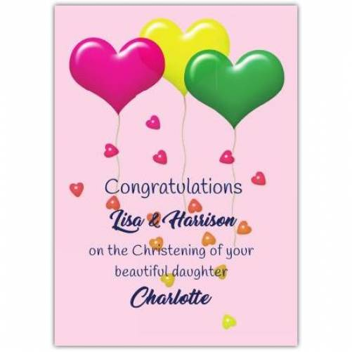 Congratulations Christening Baby Girl Pink Card