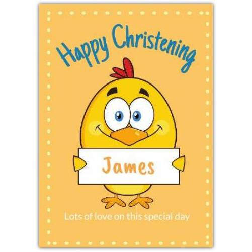 Happy Christening Chick Holding Note  Card