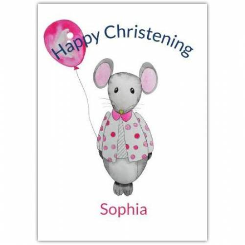 Happy Christening Mouse With Balloon  Card