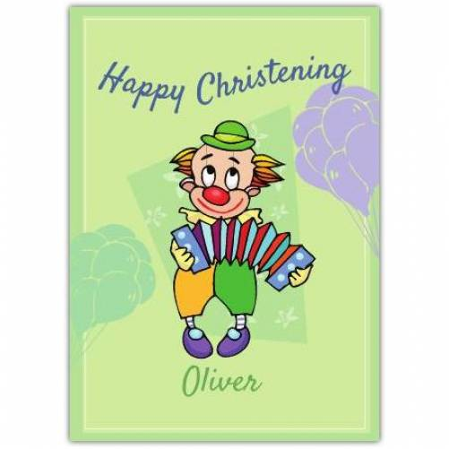 Happy Christening Clown Playing The Accordion  Card