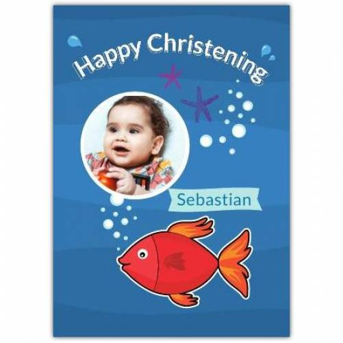 Happy Christening Under The Sea With Fish Card