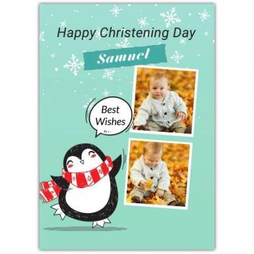 Happy Christening With Penguin  Card