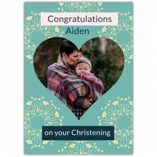 Congratulations Christening Flower Pattern  Card
