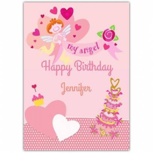 Happy Birthday My Angel Pink Hearts And Cake  Card
