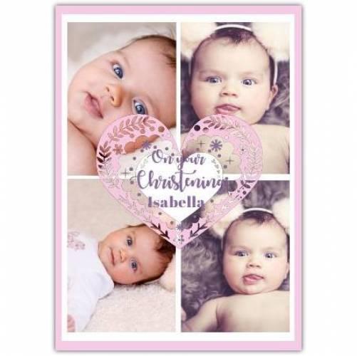 Christening 4 Photos Big Pink Heart Card