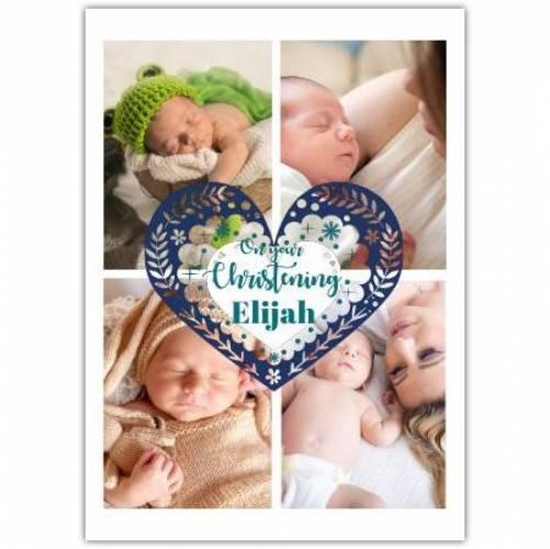 Christening 4 Photos Big Heart Card