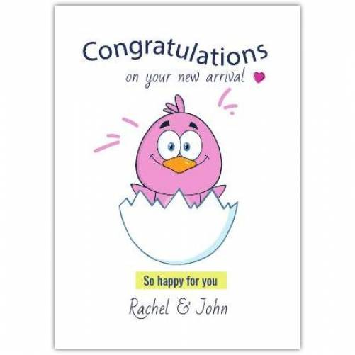 Congratulations New Baby Pink Bird Hatching  Card