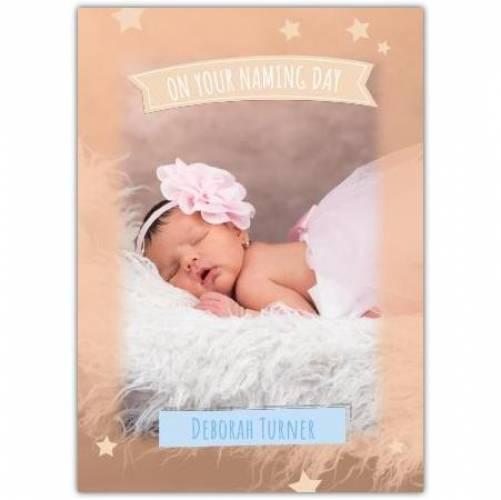 New Baby Girl Orange Stars  Card