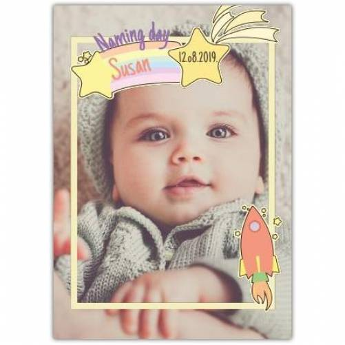 New Baby Yellow Frame With Stars  Card