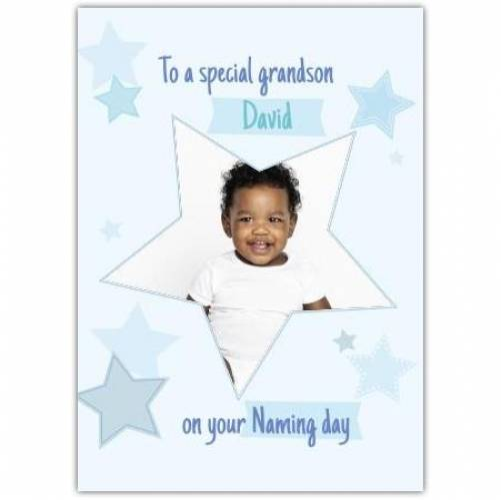 New Baby Big Star Frame Blue Stars  Card