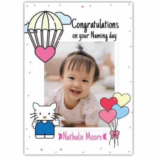 Congratulations New Baby Girl Heart Balloons  Card