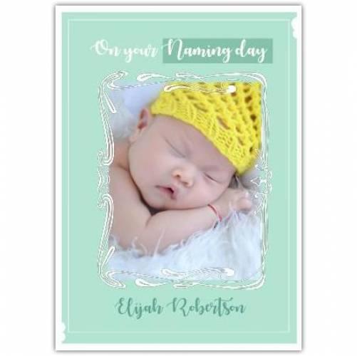 New Baby Boy Green Background White Frame  Card